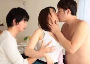 Two fellows tag team a hawt Asian girl and fuck her valuable and hard
