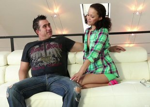 Cute slut sucks and screws a fat cock chap lustily