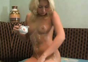 Sweet all natural blonde head can't live without fingerfucking her soaking hungry twat
