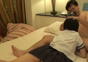 Short haired Japanese coed girl gives BJ and gets poked missionary