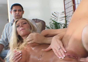 Mesmerizing large breasted blonde lewd GF gets fucked in front of dude