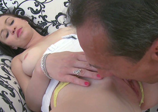 Sexy coed makes an old fart take up with the tongue her alluring punani