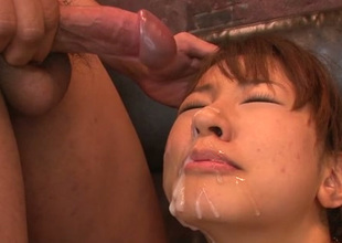 Appetizing busty brunette Buruma Aoi acquires messy facial ejaculation