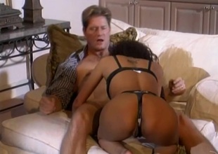 Pulsating cowgirl in nylon stockings and a thong screaming as she gets hammered hardcore