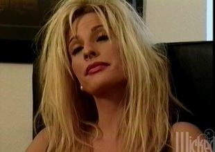 Blindfolded blond milf gets fucked hard in MMF clip