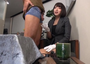 Petite japanese office girl shows her flawless banging skills