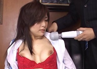 Lusty Japanese secretary fucked in her hairy vagina