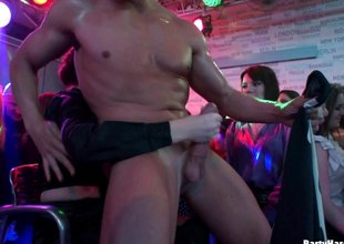 Tantalizing hotties gone crazy in a cock sucking act in the male strip club a groupsex orgy