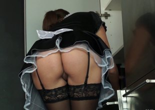 Smutty maid got her big boobies squeezed while being hammered rough by her slaver