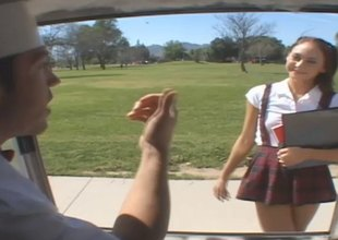 Skinny college girl in uniform gets enticed into the back of a van and drilled hardcore