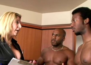 Busty milf has her wet slit double teamed by 2 black studs hardcore
