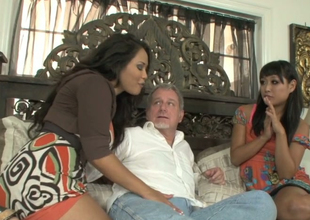 Jessica Bangkok and Yuki Mori suck one hard dick of a horny old man
