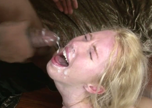 Aroused bitches receive facual cumshots from horny dudes with large knobs