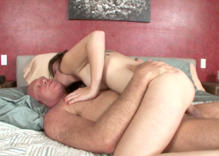 Palatable blond beauty with sexy body fucks bald dude
