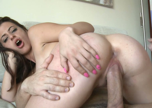 Delightful brunette bitch with great rack gets drilled hard on the couch
