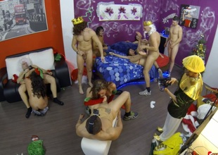 Dirtiest Christmas party that turned into kinky group fuck session