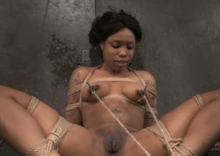 Busty black playgirl Sasha Banks tied up and stretched