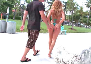 Raunchy redhead Brooklyn Lee gets screwed at the beach
