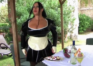 Your Busty Black Maid in Italy - Irrumation Handjob - Cum on My Love bubbles