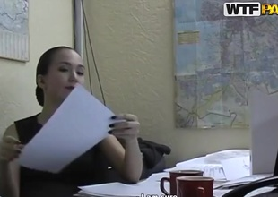 Hot brunette office lady Natasha getting gratified in her office