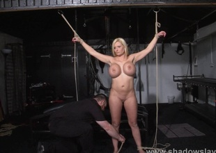 German ###girl Melanie Moons electro sadomasochism and zapped electric toy tortures of tied submissive in servitude