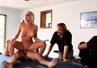 Husband likes to watch his busty blonde wife getting fucked by some other man