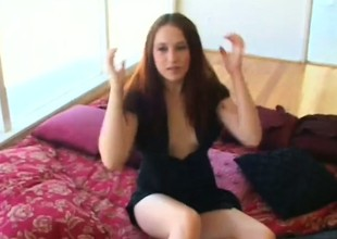 Brunette hair Ashley acquires a mouth full of jizz and screwed on the floor