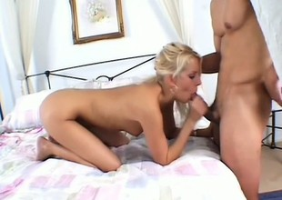Hawt blonde drills her sweet holes with a banana and gives head