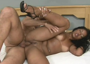 Ravishing chocolate chick with a fabulous booty is addicted to anal sex