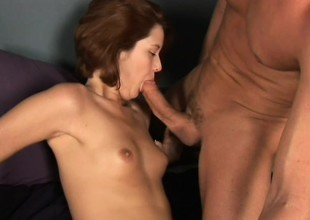 Red-haired maud opens throat wide to swallow warm yummy semen
