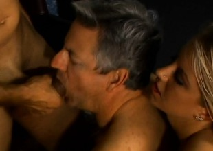 Two older ambisextrous dudes get it on with a gorgeous blond babe
