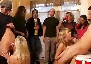 Group of horny college angels start an orgy at a house party