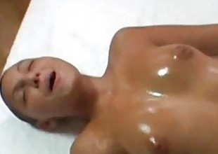 Hairless chick gets oil massage and facial