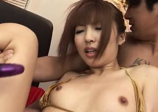 Kotone Aisaki gets shared by two chaps in threeosme porn