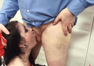stunning BDSM anal act in gangbang