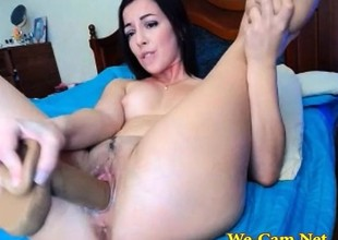 Dark brown masturbate pussy with toys