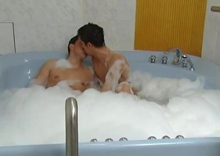 These 2 horny guys enjoy soaking themselves in the hot tub, then enjoy a little fun. These 2 enjoy sucking off one another then taking turns fucking one another bareback. I'm sure the bath made their assholes nice and loose for some hardcore anal acti