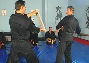 Anthony Okamoto, Janos Volt, and Chris Russel are in karate class at the beginning of this 22 minute group sex scene.  A room full of jocks with gorgeous muscles practice their fist strikes and receive instructions on technique for the first  5 minutes, t
