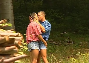 Ray Phillips and Roberto Giorgio go out for a romantic walk, and they barely receive out the front door before sinking into kisses together.  They manage to receive to the tree line before this 22 minute outdoor scene becomes outright porn.  Watch up very close f