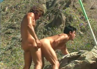 Jeff Palmer comes to the rescue when Dylan Reece acquires tied up and undressed to his shorts in the centre of the wilderness - that's the beginning of this short 6 minute outdoor scene.  (But why'd Jeff ruin a perfectly admirable bondage pont of time between lovers by u