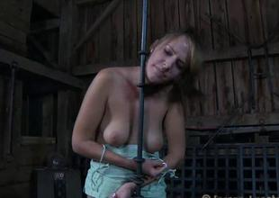 Angel receives hardcore clamping for her biggest racks