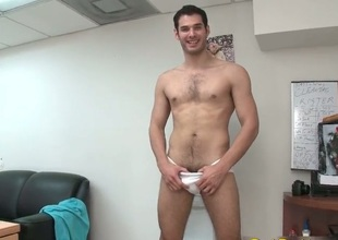 Cute homosexual stripping in office