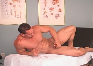 Hunky gay jerking off & cumming