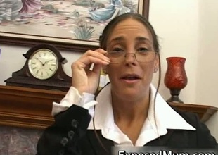 Sexy mum in glasses deepthroating big cock