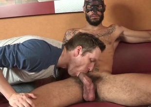 Bearded dilettante in a mask enjoys a hawt blowjob