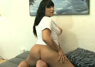 Facesitting shemale shoves her dick down his throat