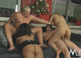 Sluts suck and screw in a curvy hotty foursome