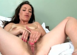 Naughty shaggy bush on a solo mom rubbing her cunt