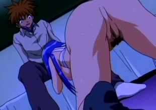 Blue haired anime babe screwed in her taut pussy