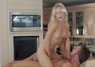 Cock riding on the kitchen counter with a beauty